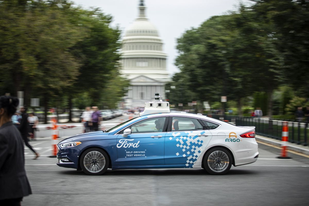 Ford Argo AI self-driving test car zooming through Washington D.C.