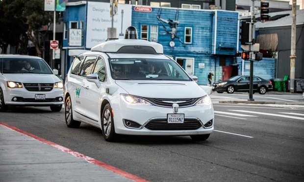 A Waymo-customized Chrysler Pacifica hybrid, used for Google's self-driving vehicle program
